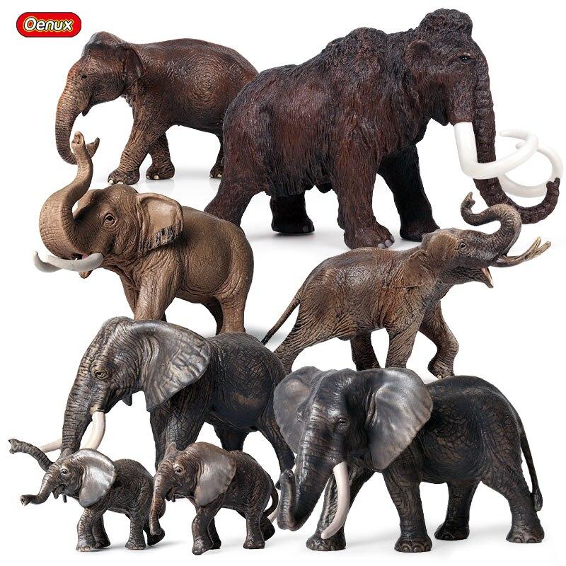 Oenux Original African Elephant Wild Animals Simulation Big Mammoth Action Figures Model Figurine PVC Educational Toy For Kids figurine