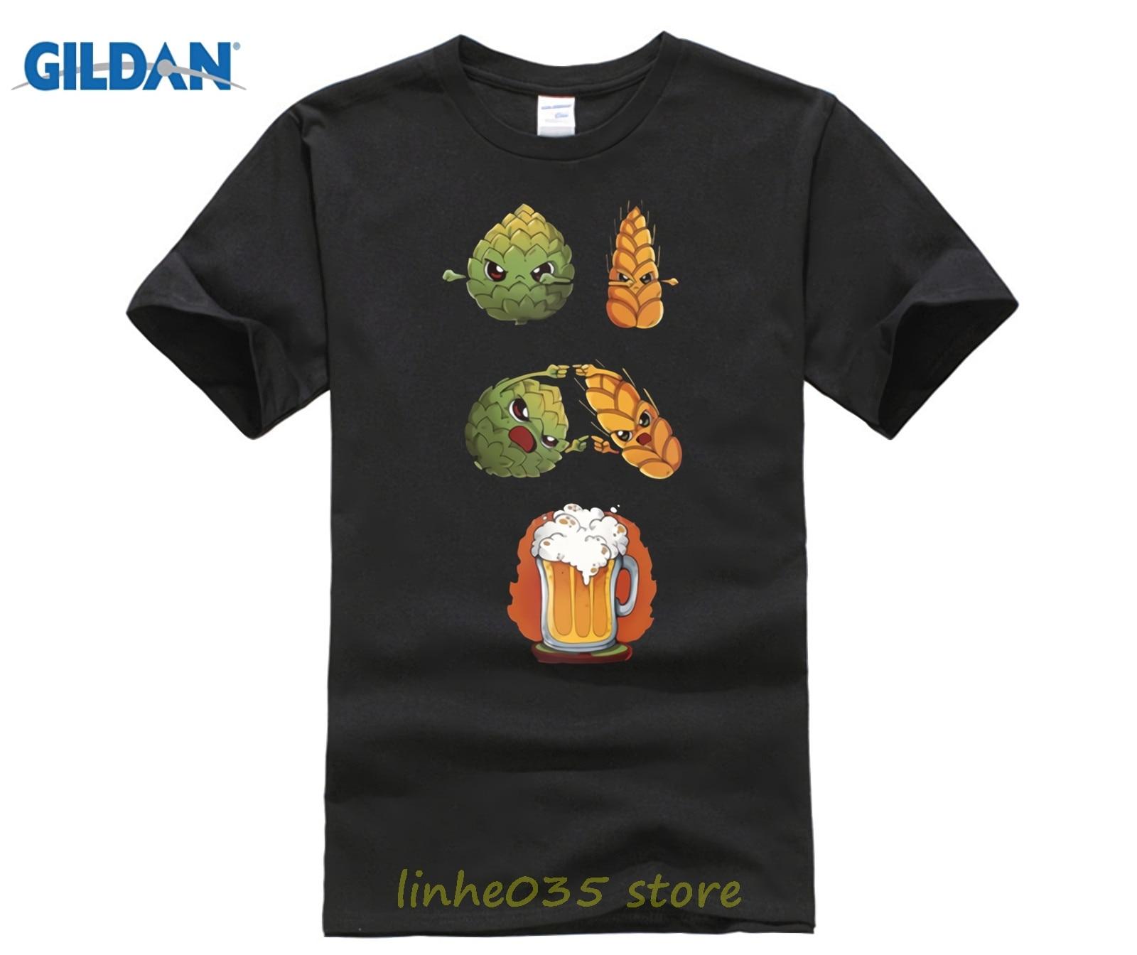 Anti-Wrinkle T-shirt Big Size For Men Beer Fusion Men's T Shirt Organic Cotton Cotton Tshirt Design Clothing Pop