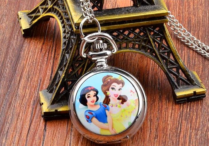 New Seyle Snow White Sandy Princess Belle Princess Pattern Pendant Necklace Pocket Watch Best Gift For Kid Women Wholesale