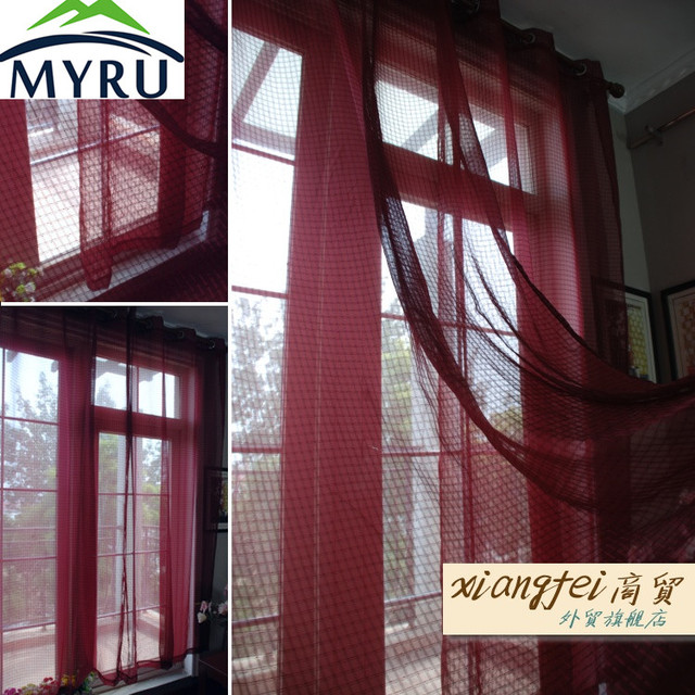Myru 135cm 240cm Wine Red Plaid Punch Finished Curtains Burgundy Voile For Bedroom And