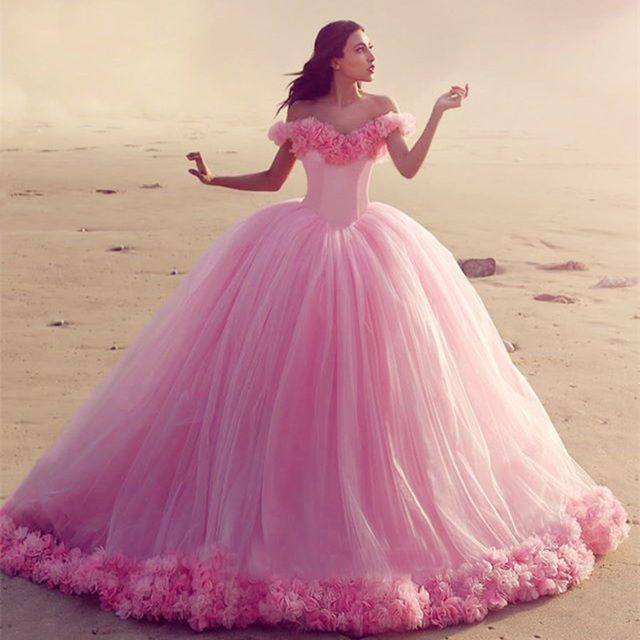 Elegant Off Shoulder Pink Wedding Dresses 2017 Fl Edge Tulle Ball Gown Court Train Women Bride