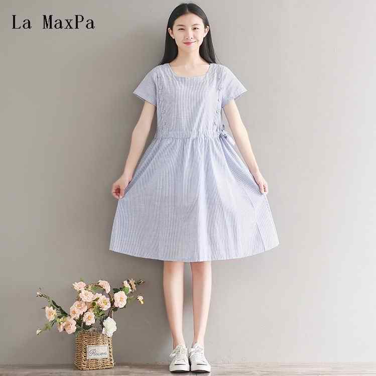 550dcddb953 La MaxPa Summer Lady Dress Mori Girl Cute Cotton Linen Striped Loose Dress  Plus Size Brief