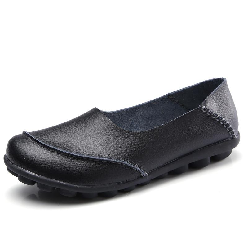LYPO Vår sommar läder ärtor skor kvinnliga glidstorlekar stora - Damskor - Foto 3