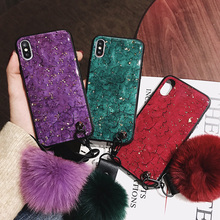 Crystal Rhinestone Bling For Oneplus 7 Retro Palace Marble Case For Oneplus 7 Pro Diamond Glitter Hair Ball+Lanyard Case Cover