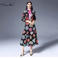 Truevoker Designer Long Dress Women S Full Sleeve Bow Collar Fancy Abstract Printed Rose Floral Embroidery