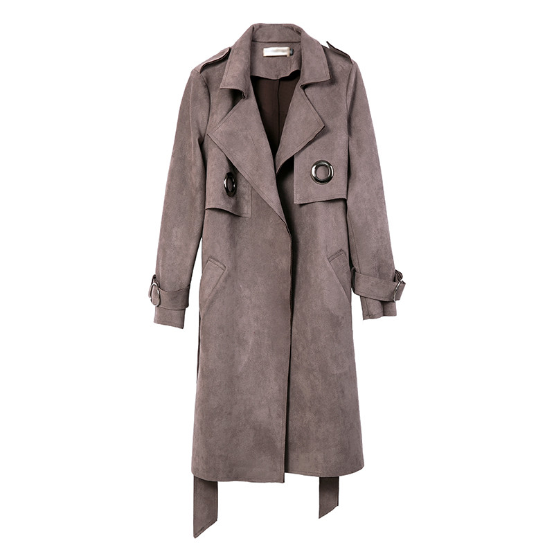 Autumn Elegant Suede   Trench   Coat For Women Sobretudo Feminino Long Outwear Windbreaker Vogue Cardigan   Trench   Maxi Coats C3486