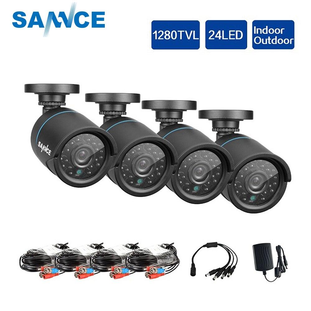 SANNCE HD 720P CCTV Security Cameras 4pcs 1 0MP 1280tvl Outdoor Home Video Surveillance Camera in