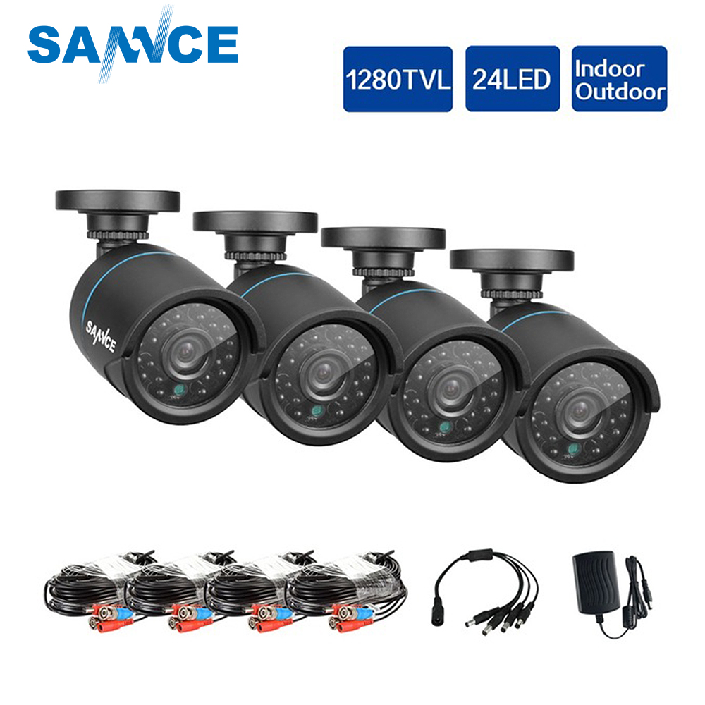 SANNCE HD 720 p CCTV Caméras de Sécurité 4 pcs 1.0MP 1280tvl Extérieurs pour La Maison Caméra de Surveillance Vidéo dans CCTV Système