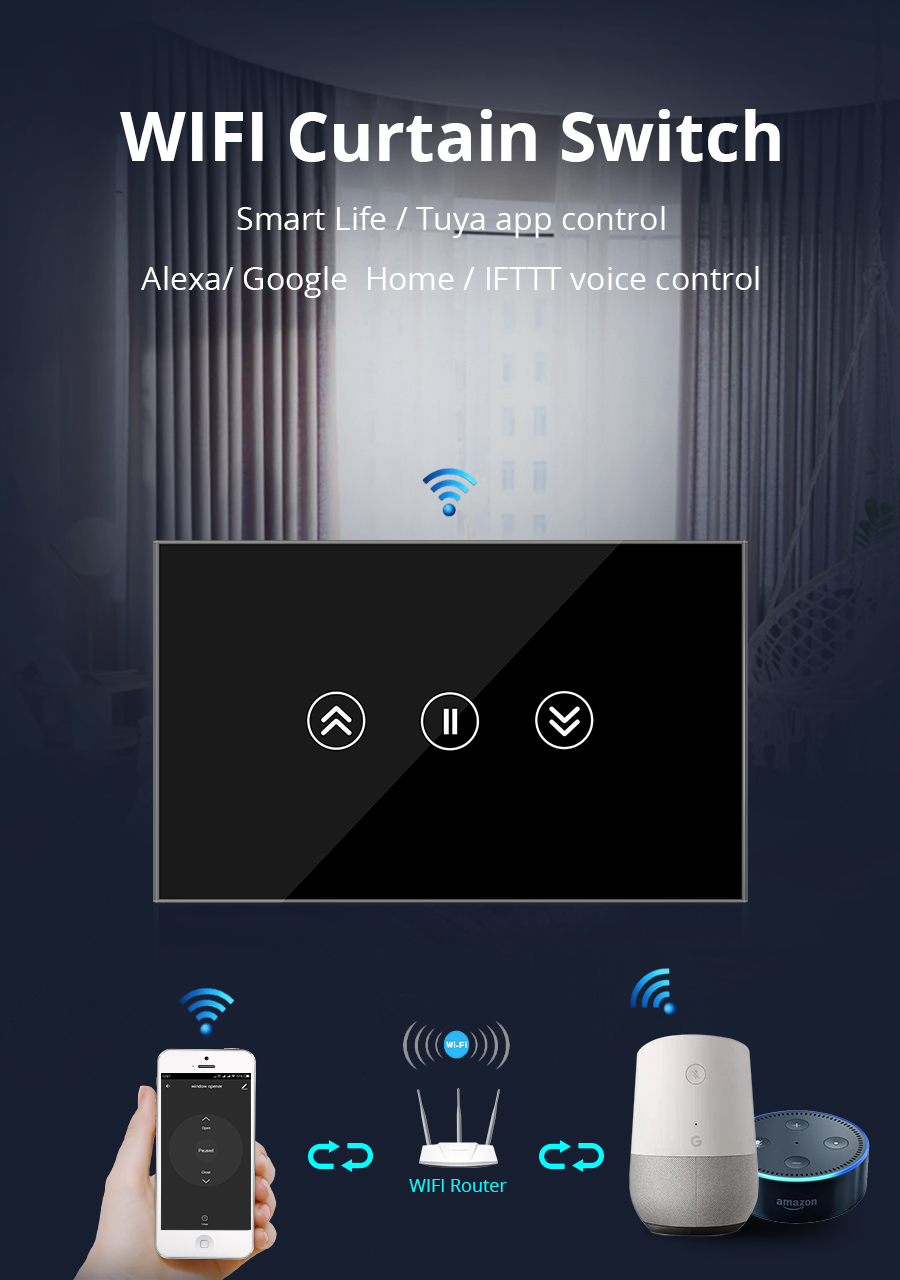 Smart Home Touch Switch for Curtain Motor tuya Jinvoo APP control Alexa  Gooogle Home IFTTT Wall Switch