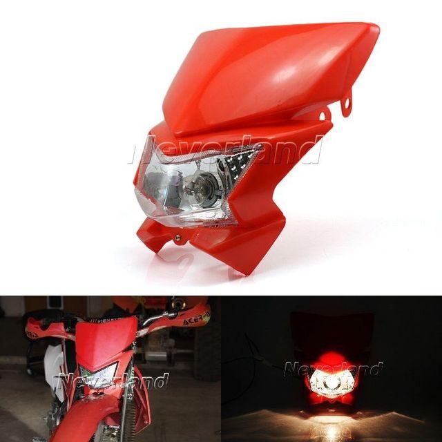 Universal de Doble Lámpara de Cabeza Faro Carenado Enduro Moto Street Fighter para KLX 250 KLX 450 Rojo Negro hi/lo opción
