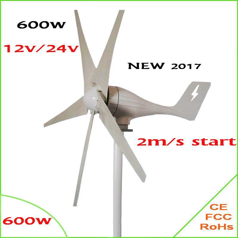 HOT 2017 power 600W 5 blades wind generator / wind turbine / windmill CE Approved wind turbine generator Max 830W output free shipping 600w wind grid tie inverter with lcd data for 12v 24v ac wind turbine 90 260vac no need controller and battery