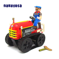 Handmade Classic Toys For Adults Collection Simulation Diecast Tractor Tin Toys Metal Wind Up Clockwork Tractor Toys For Kids