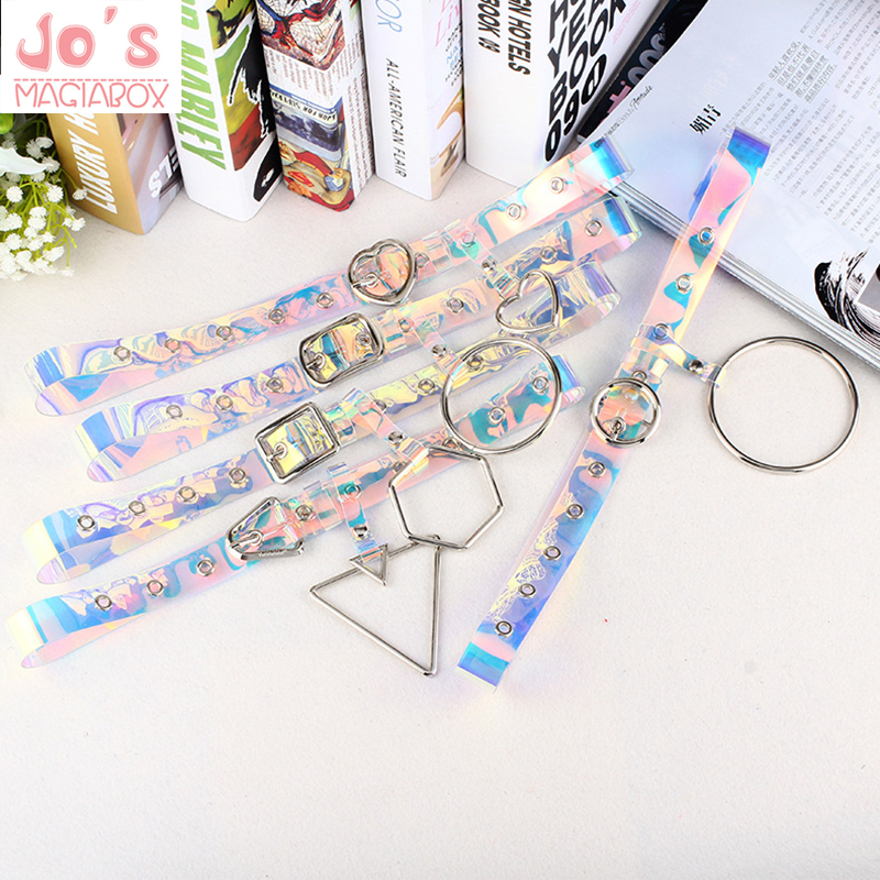 Laser Personality Transparent   Belt   Harajuku Chic Geometry Decoration Color Transparent   Belt   Plastic New Style Cool Women   Belt