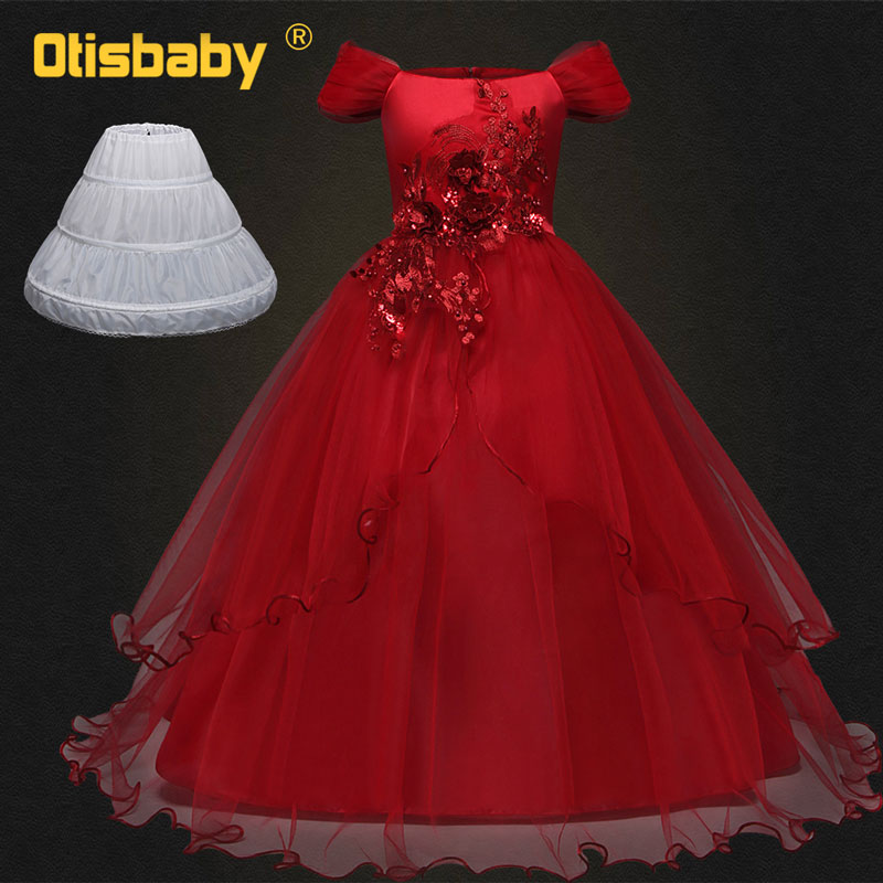Children Kids Floral Prom Wedding Dresses Sleeveless Long Holidays Teenage Ceremony Party Gown Child Tutu Girls Dresses Age 13