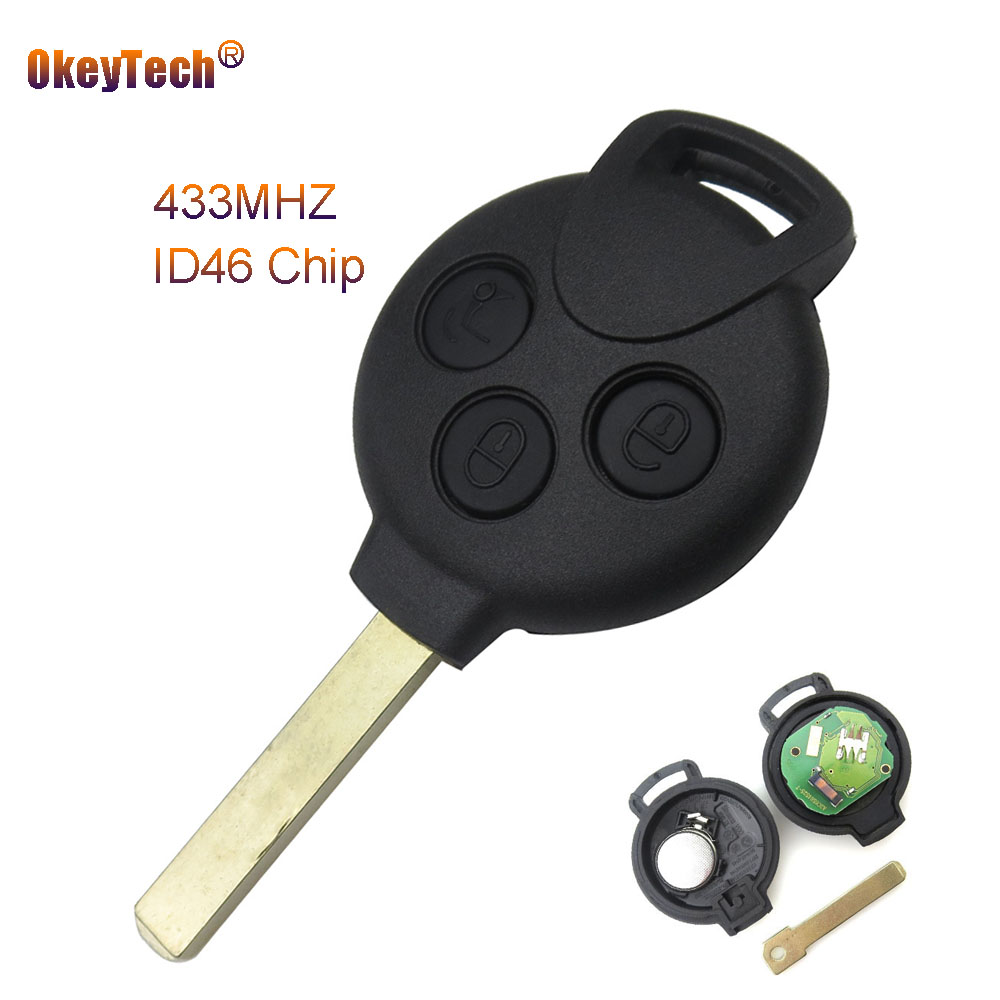 Okeytech 3 Buttons Replacement Remote Car Key Keyless Entry for Mercedes Benz Smart Key 451 433MHz  ID46 7941 Chip Free Shipping|entry| |  - title=