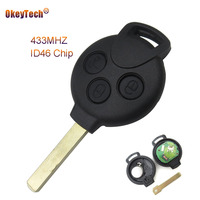 Okeytech 3 Buttons Replacement Remote Car Key Keyless Entry For Mercedes Benz Smart Key 451 433MHz
