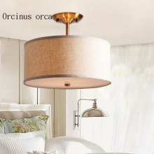 American style living room ceiling light simple modern aisle bedroom study round fabric ceiling lamp