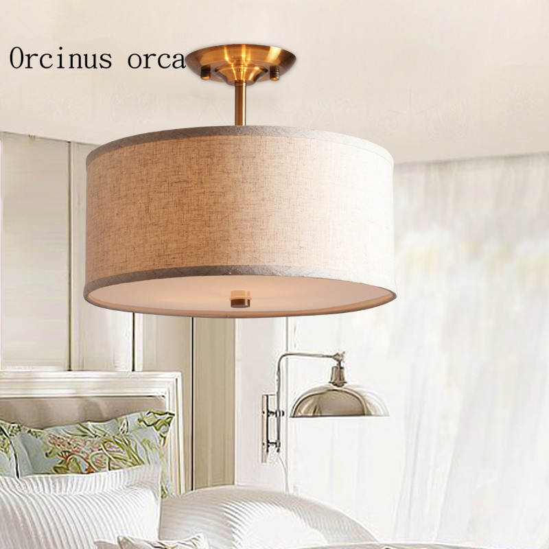 American style living room ceiling light simple modern aisle bedroom study round fabric ceiling lamp ceiling light living room is dome light round american idyllic corridor scandinavian simple balcony antique bedroom lamp 1852