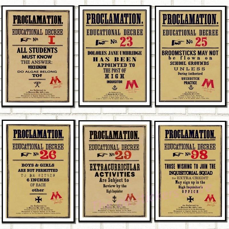 Retro kraft poster .Hogwarts Umbridge Educational Decrees ...