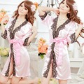 Women's Sexy Lingerie Lace Robe Pajamas Nightgown Night Dress Nightwear+ G-String Babydoll Set