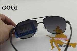 Image 5 - 무료 배송, goqi man 빈티지 금속 프레임 직사각형 편광 선글라스, 60mm 편광 된 운전 남자 uv400 선글라스,