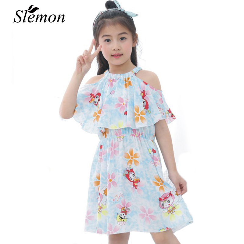 Hot Sale Kids Summer Halter Strapless Dresses for Girl 2018 Children 3 4 6 7 8 9 10 11 12 13 Years Bohemia Casual Pleated Dress