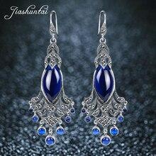 JIASHUNTAI أقراط فضة للنساء كبيرة وطويلة الطاووس أقراط مضاد للحساسية 925 فضة مجوهرات أنثى