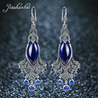 JIASHUNTAI Silver Earrings for Women Big and Long Peacock Earrings Antiallergic 925 Sterling Silver Jewelry Female