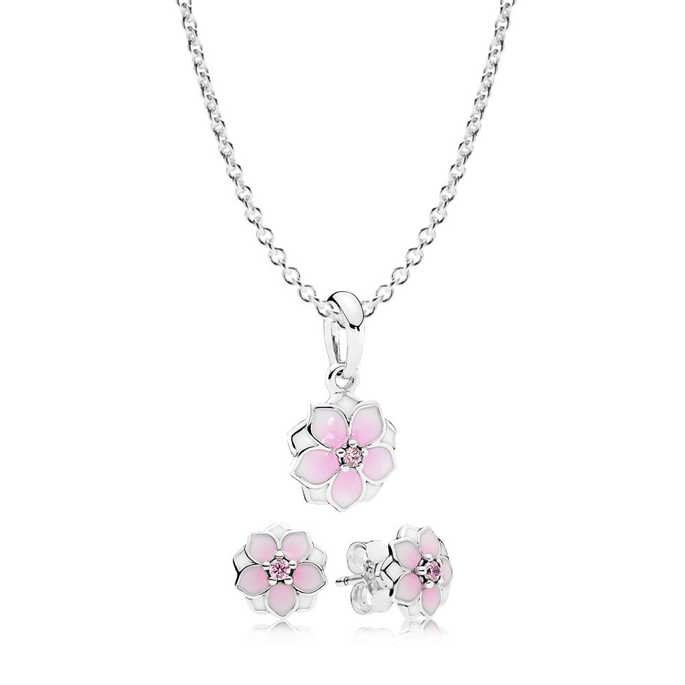100% 925 Sterling Silver Magnolia Bloom Necklace And Earring Set Fit Charm Original Necklace Women Jewelry A Set Of Prices