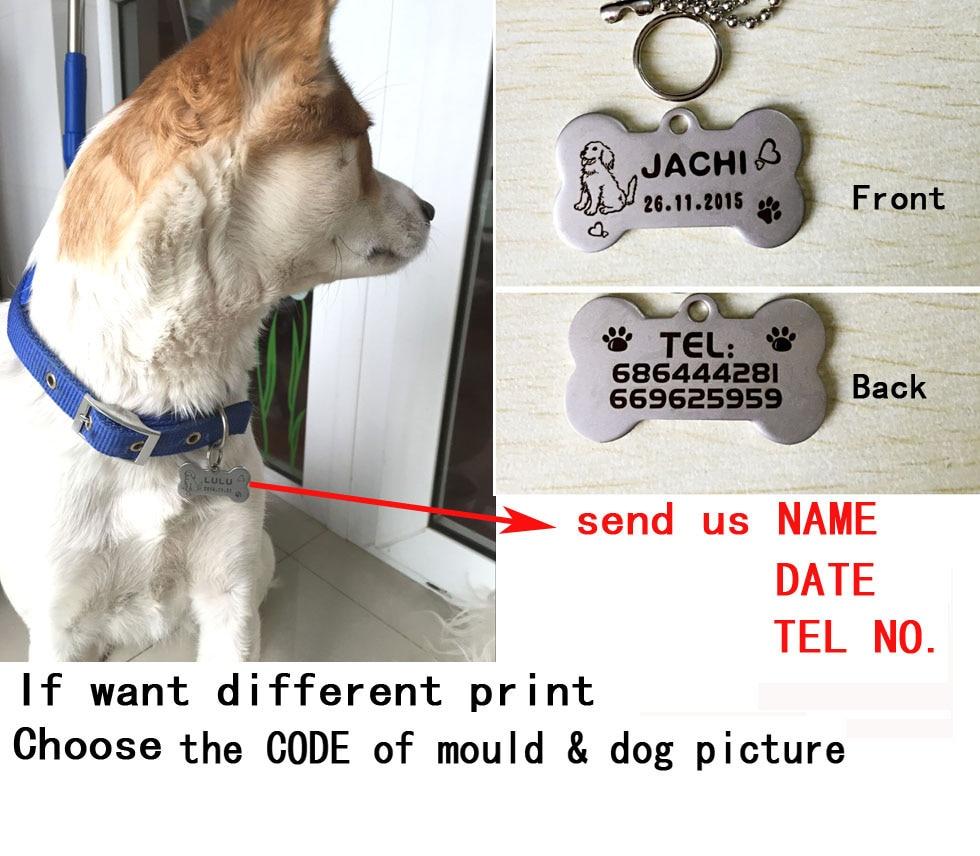 gdhendje çeliku inox me cilësi të lartë gdhendje qen emri qen emri tel tag qen qen qen qen kafshësh identifikuese ID 2X4CM memorie e përhershme përkëdhelur për kafshët shtëpiake
