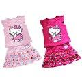 2016 новые летние девушки из двух частей с коротким рукавом хлопка мультфильм милый кот футболка + юбка костюм прекрасный новорожденных девочек одежда бесплатная доставка