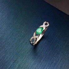 Naturalny szmaragd 3mm * 5mm pierścień inkrustowane biżuteria hurtowych S925 srebro