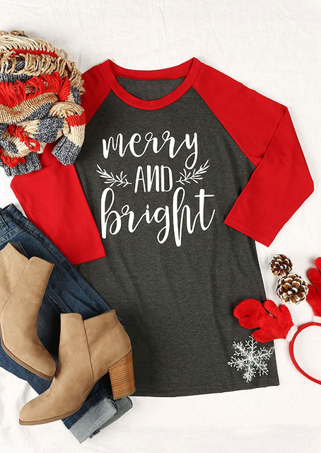dc7171ecf6d8 Merry Christmas T Shirt Merry And Bright Tshirt Casual Autumn Letter Print  Full Sleeve Crewneck Women Top Female Long Sleeve Tee
