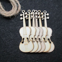 10 Pcs Unfinished Violin Sheap Wood Cutout Chips For Board Game Pieces Arts Crafts Projects Ornaments(China)