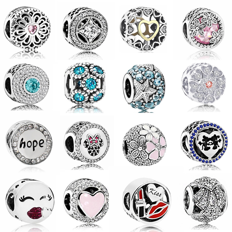 Hot Sale Party Beads Hope Flowers Love Hearts Crystal Charms Beads Fit Pandora Women Bracelets & Bangles DIY Jewelry Femme Gifts(China)