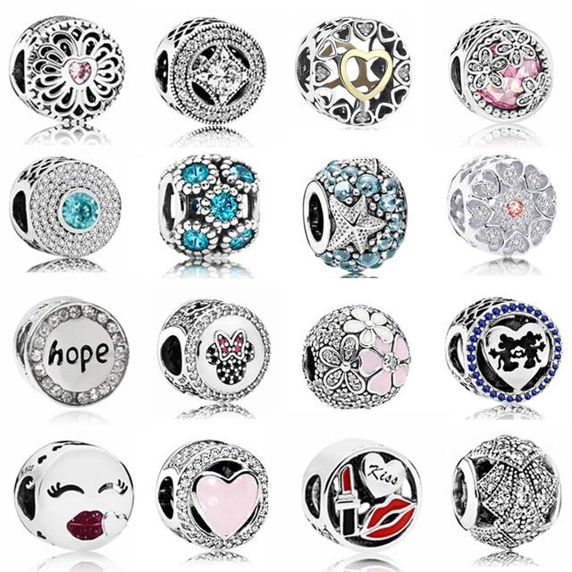 Vente chaude Parti Perles Espérons Fleurs Coeurs D'amour En Cristal de Charmes Perles Fit Pandora Femmes Bracelets & Bangles DIY Bijoux Femme cadeaux