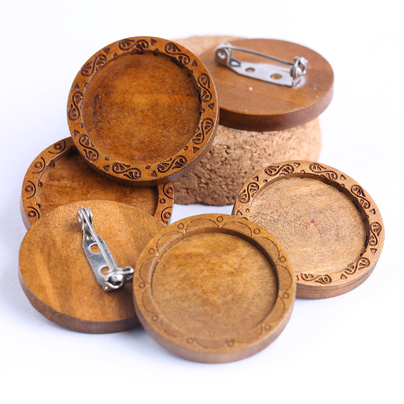 5pcs Round Wood Cabochon Brooch Base Settings 25mm Dia Bezel Blanks Diy Brooches Backing Pins For Jewelry Making