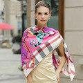130*130 CM Moda xadrez swimwear cover up mulheres sarja lenço de seda lenços de pashmina outono inverno da marca de luxo