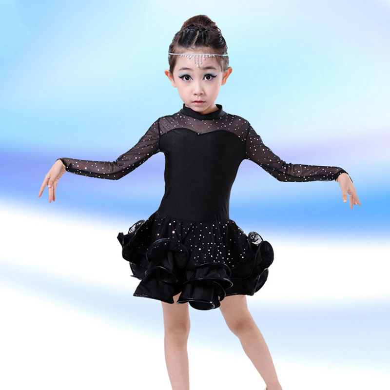 New Children Latin Dance Dress Long Sleeve Lace Sequin Vestido Kids Latin Dresses Girls Stage Performance Dancing Dress anne klein new jade long sleeve sequin sweater s $79 dbfl