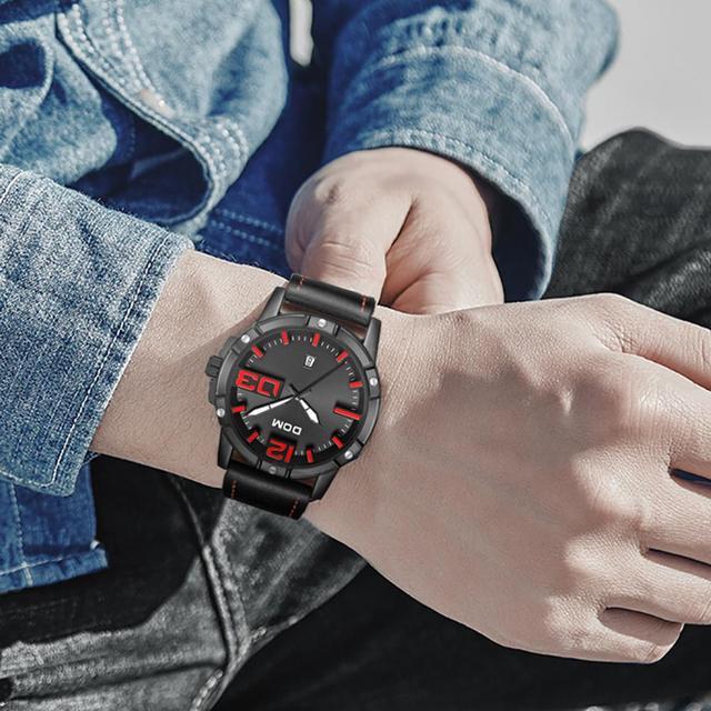 DOM Men's Casual Leather Business Calendar Date Display Waterproof Quartz Watches 4