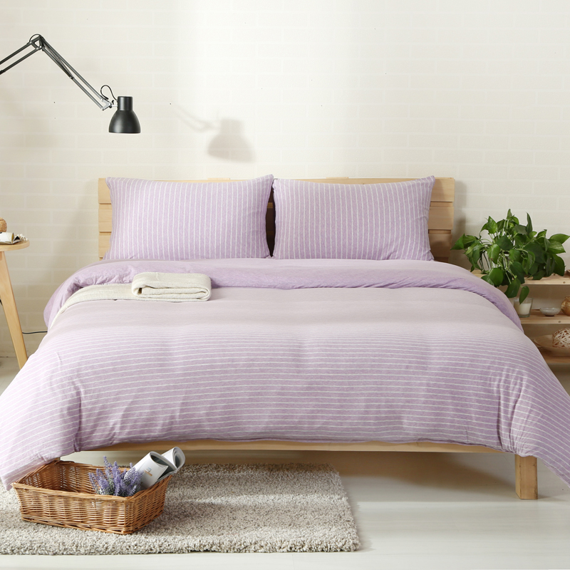 2018 Pale Purple Lines Bedlinens Knit Cotton Bedding Twin Queen King Duvet Cover Set Flat/Fitted Sheet Pillowcases Bed Cover