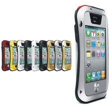 New Aluminum Metal Waterproof Case Cover For Iphone 4/4S Shockproof Waist Glass Bumper