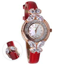 Luxury Melissa Lady Women's Watch Bowknot Rhinestone Crystal Clock Fashion Hours Leather Bracelet Bling Shell Girl's Gift Box