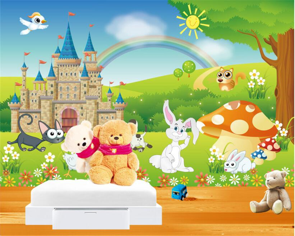 beibehang Custom Kids Room Background 3D Wallpaper Cartoon Rainbow Mushroom White Rabbit Photo Wallpaper mural papier peint shinehome black white cartoon car frames photo wallpaper 3d for kids room roll livingroom background murals rolls wall paper