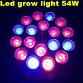 10pcs/lot 12 Red 6 Blue E27 54W Led Grow Light Plant Growing Lamp 18x3W 18pcs leds Greenhouse Flower Plant Lighting Bulb