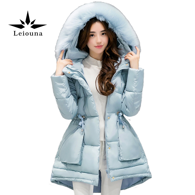 Leiouna Women Winter Coat Hooded Large Fur Collar Down Snow Wear Cotton Jakcet Thick Warm Female Wadded Jacket набор посуды для детей stor свинка пеппа