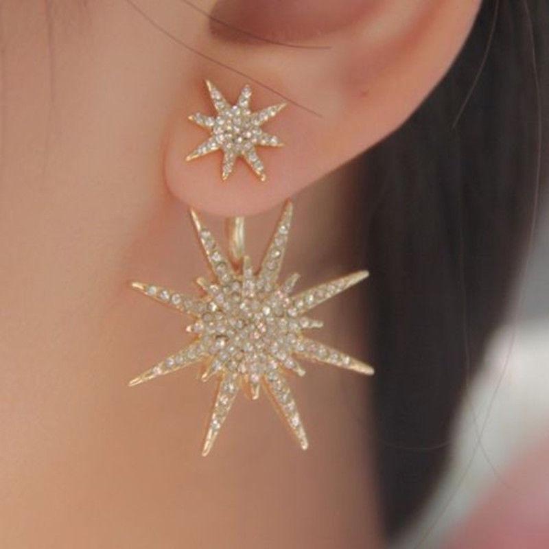 Crystal Rhinestone Lady Women 1 Pc Dangle Gold Earrings Star Ear Stud Earring 10.4