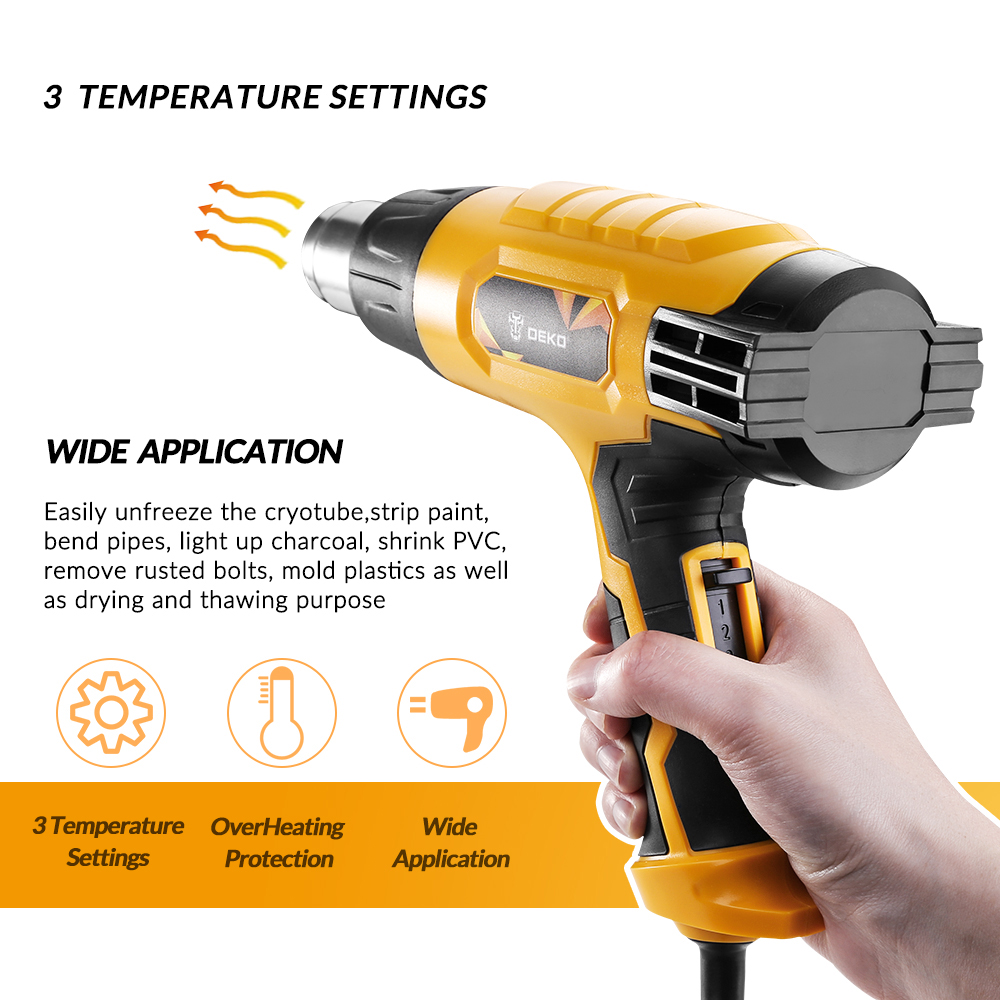 Image 2 - DEKO DKHG02 220V Heat Gun 3 Adjustable Temperature 2000W Advanced Electric Hot Air Gun with Four Nozzle Attachments Power Tool-in Heat Guns from Tools on