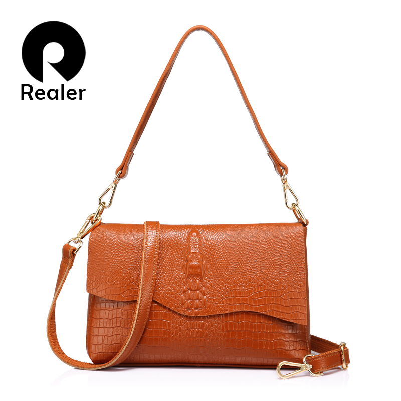 Realer Women Shoulder Bag Genuine Leather With Crocodile Print Handbag Fashion For Ladies Cross-body Messenger Bags Female
