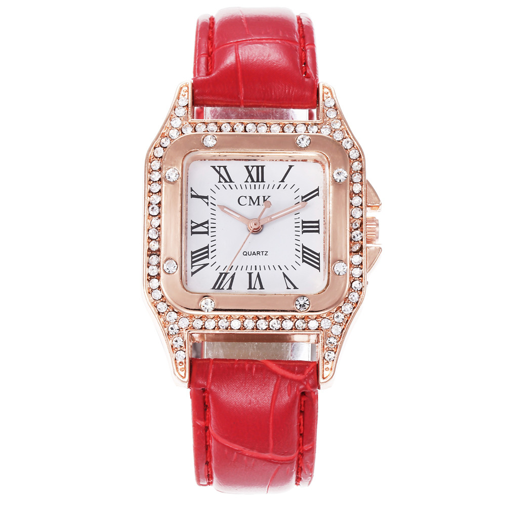 Fashion Square Ladies Watches Roman Numerals Rhinestone Dial Women Watch Reloj Hombre Leather Casual Quartz Clock Kol Saati #W